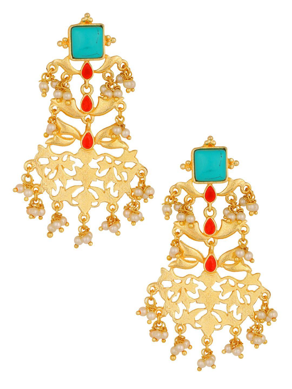 The Jewelbox Large Bridal Statement Filigree Earring 18K Gold Plated Chandelier Dangler Earring Girl Women