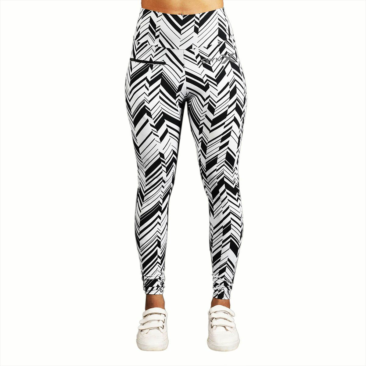 GymX Womens Polyester Allure Leggings:Monocrome (Size-Small)