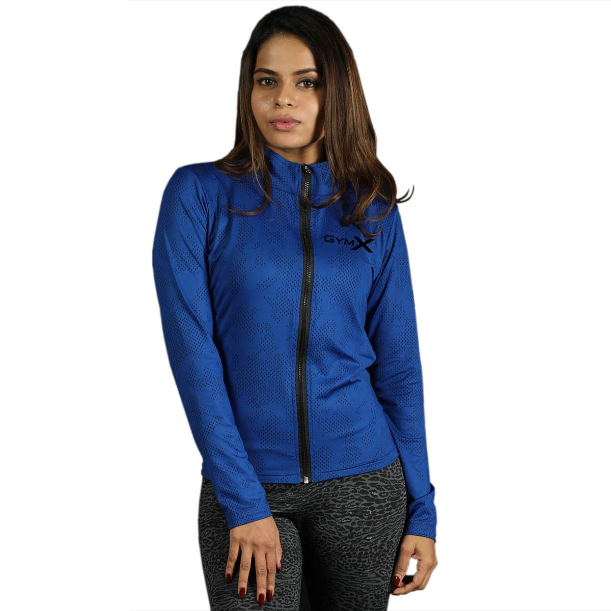 GymX Womens Royal Blue Full Zip Jacket- Athena Series(Size:Large)