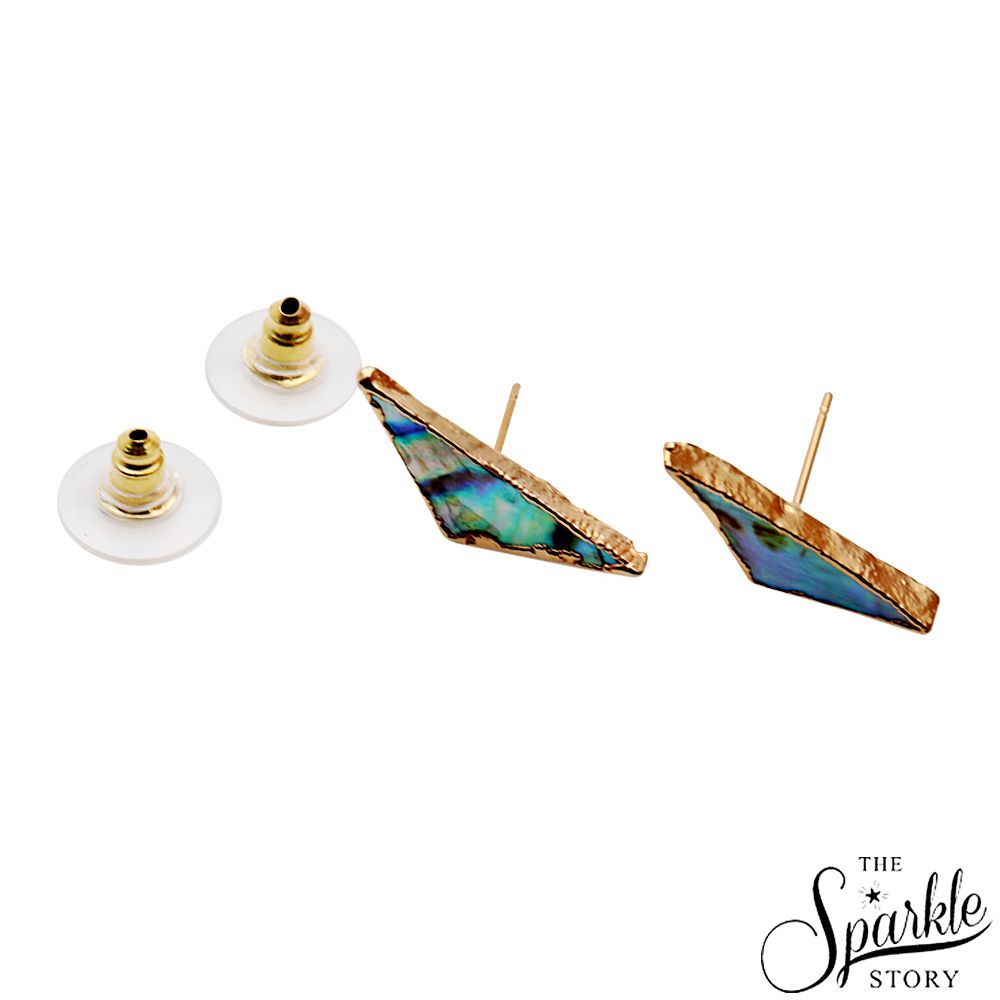 The Sparkle Story Abalone Shell Studs 21x6mm Gold Electroplated (DAB-90008)