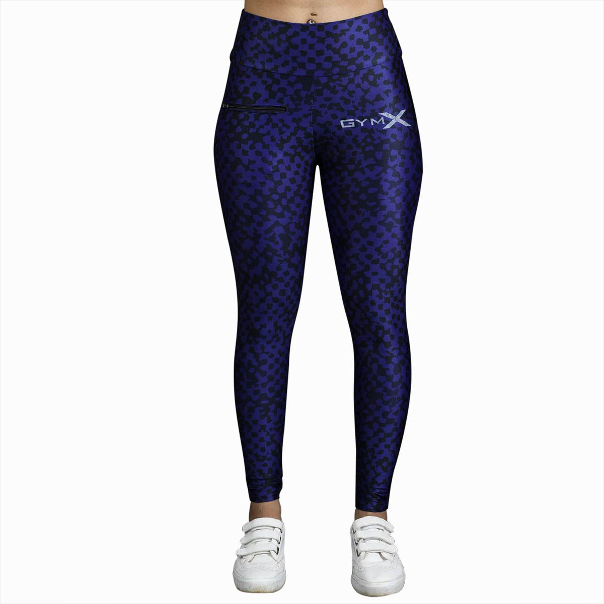 GymX Womens Polyester Allure Leggings: Black Cheetah Skin-Black (Size-X-Large)