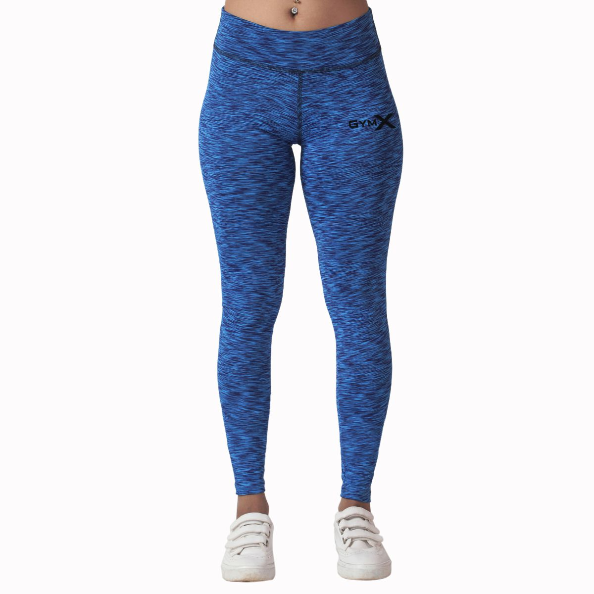 GymX Womens Polyester Sculpted Leggings 2.0: Blue Airstrip (Size:Small)