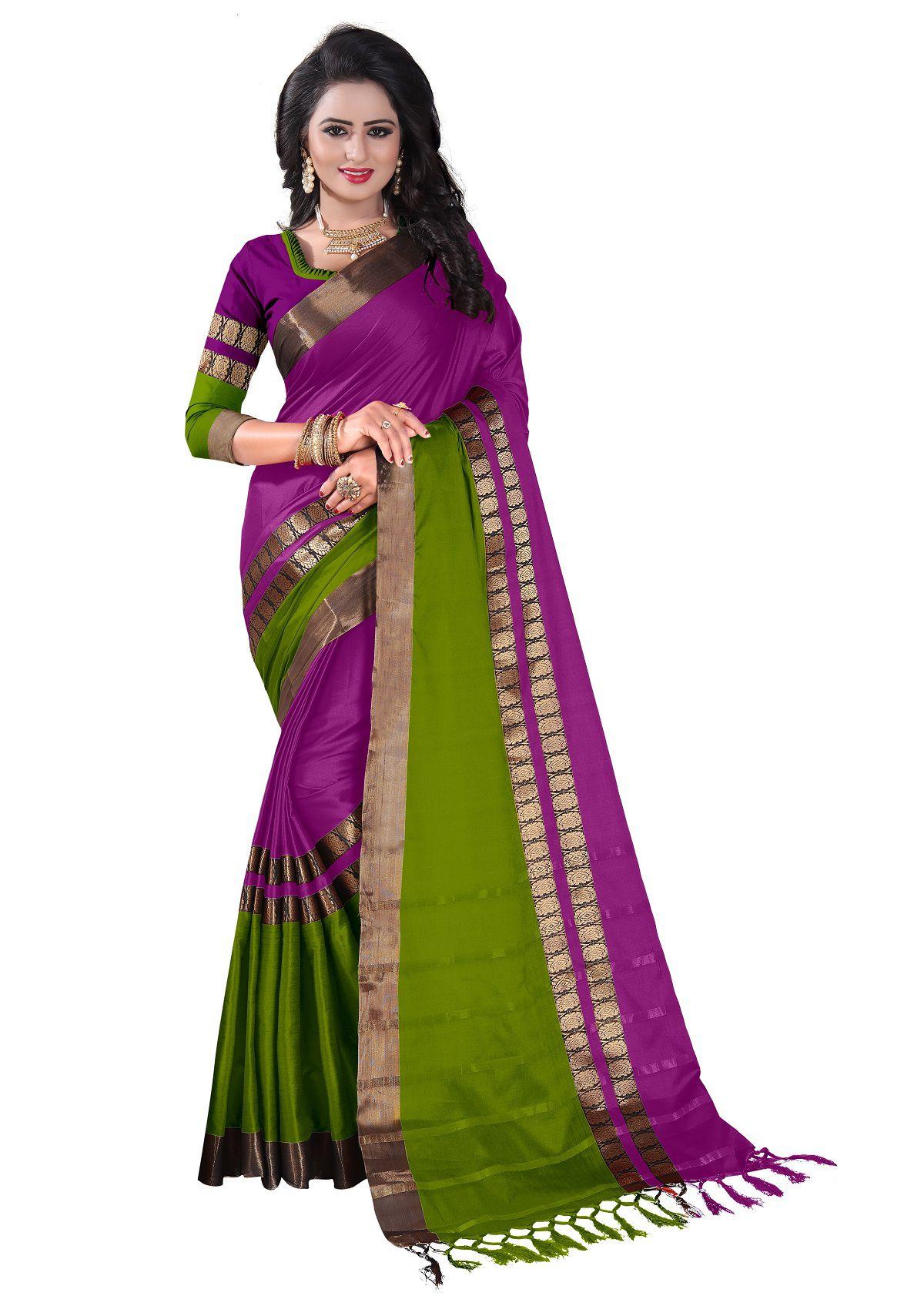 Mastani Brown and Purple Silk Saree