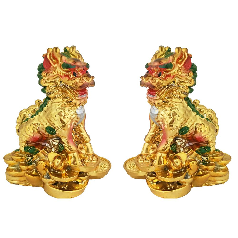 Divya Mantra Foo / Fu Dogs Temple Lions Yin Yang Pair Standing on Wealth Coins and Ingot Powerful Feng Shui Protection Symbol Decor