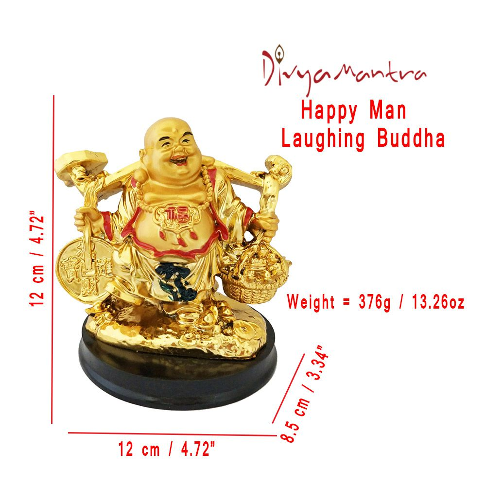 Divya Mantra Happy Man Laughing Buddha Holding Wealth Coin and