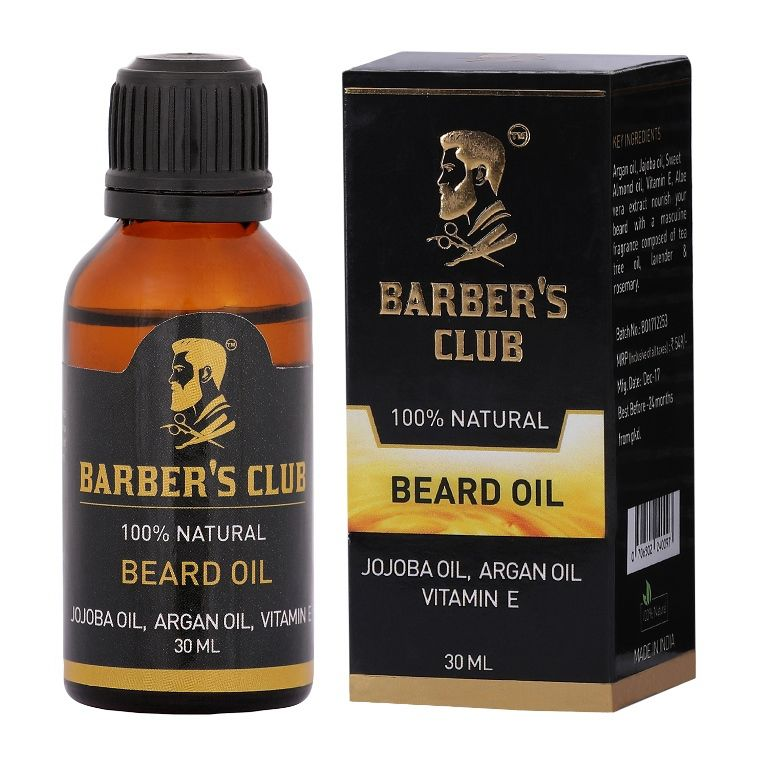 Barber's Club Beard Oil (100% Organic & Natural Argan Oil, Jojoba Oil, Vitamin E) -30Ml