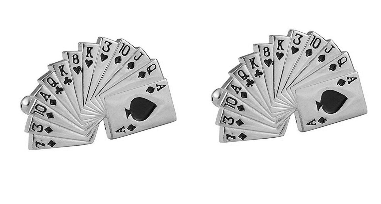 The Jewelbox Formal Shirt Glossy A Cards Enamel Black Rhodium Brass Cufflinks Pair Boys Men Valentine Gift Box