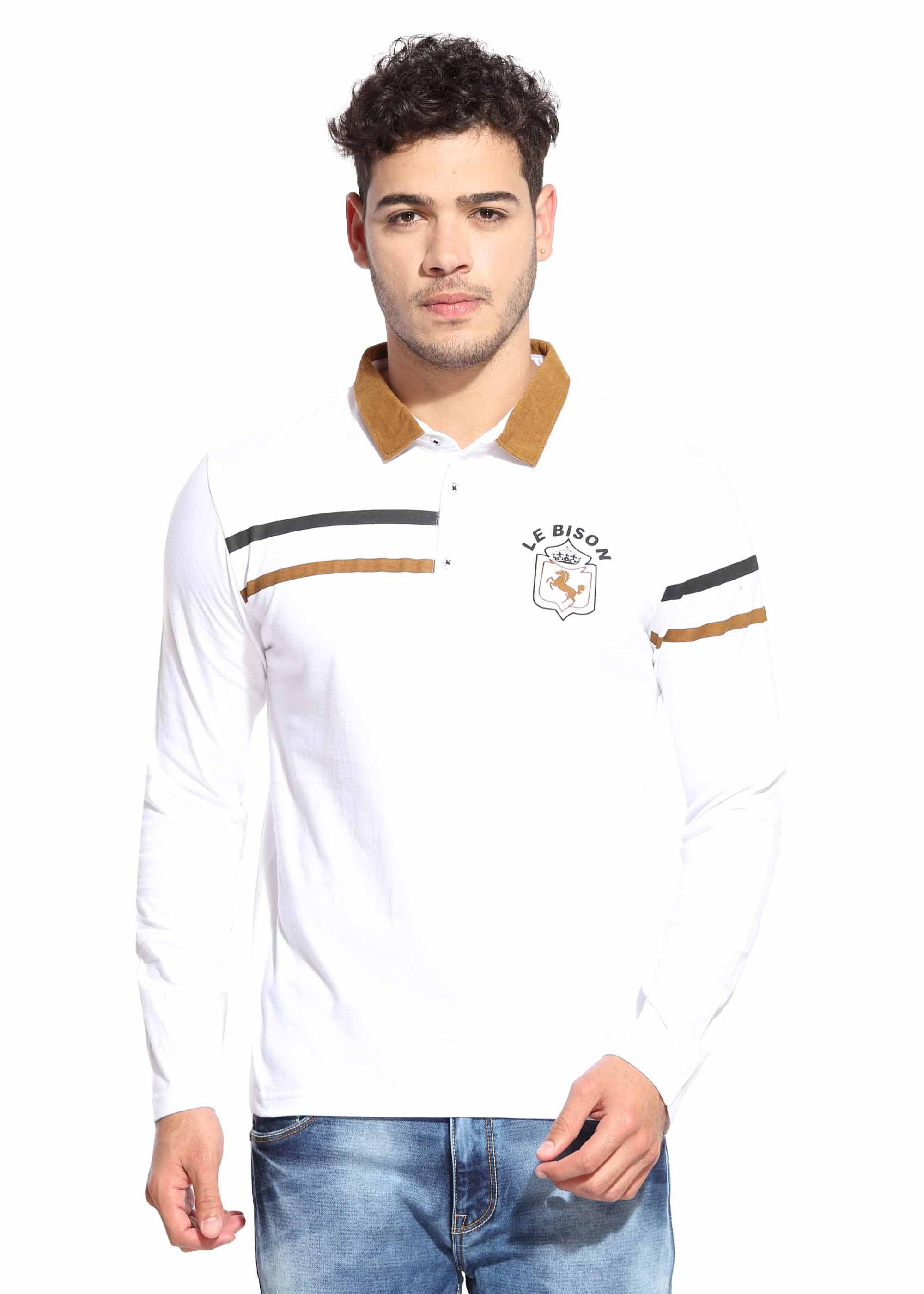 Le Bison White V-Neck T-Shirt Pack of 1
