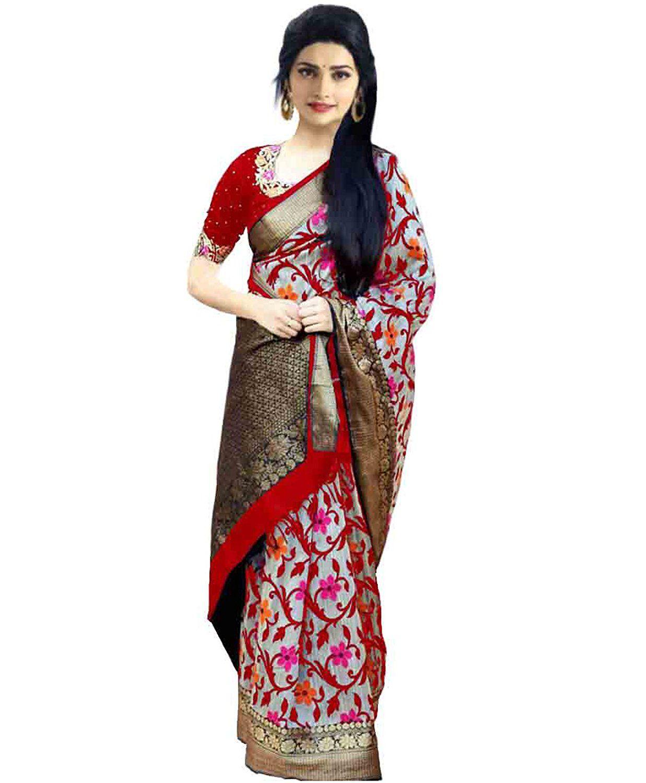FabDiamond Red Cotton Silk Saree