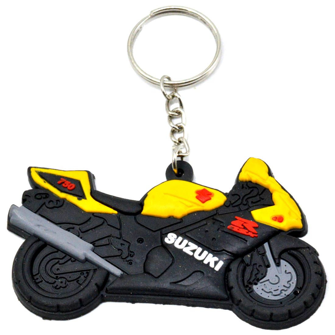 Faynci Suzuki GSXR 750 Bike Logo Silicone Yellow/Black/Red Key Chain