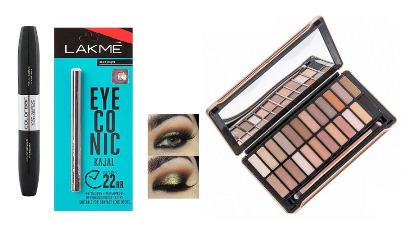 Imported Combo Colorbar Mascara, liquid eye liner 2 in 1 Lakme eye conic kaja & Urban decay Naked4 24 Shades Palette Makeup Kit 40 gm: Buy Imported Combo ...