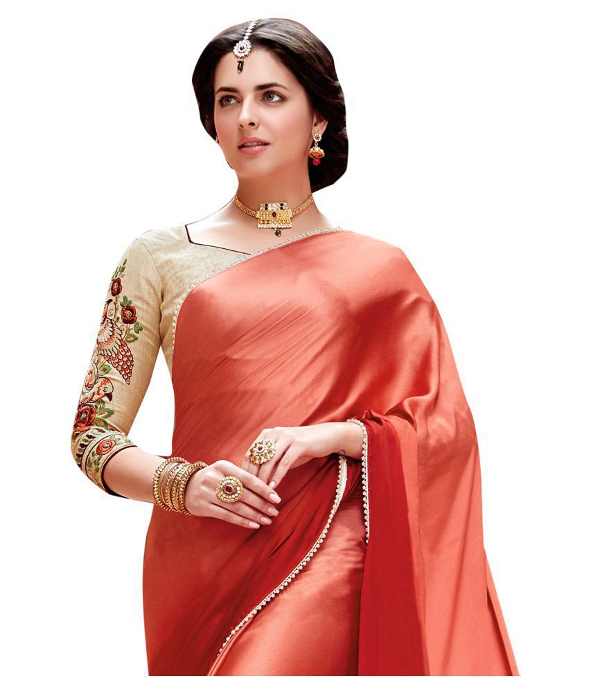 dea041a736 Shaily Retails Red and Pink Satin Saree - Buy Shaily Retails Red and ...