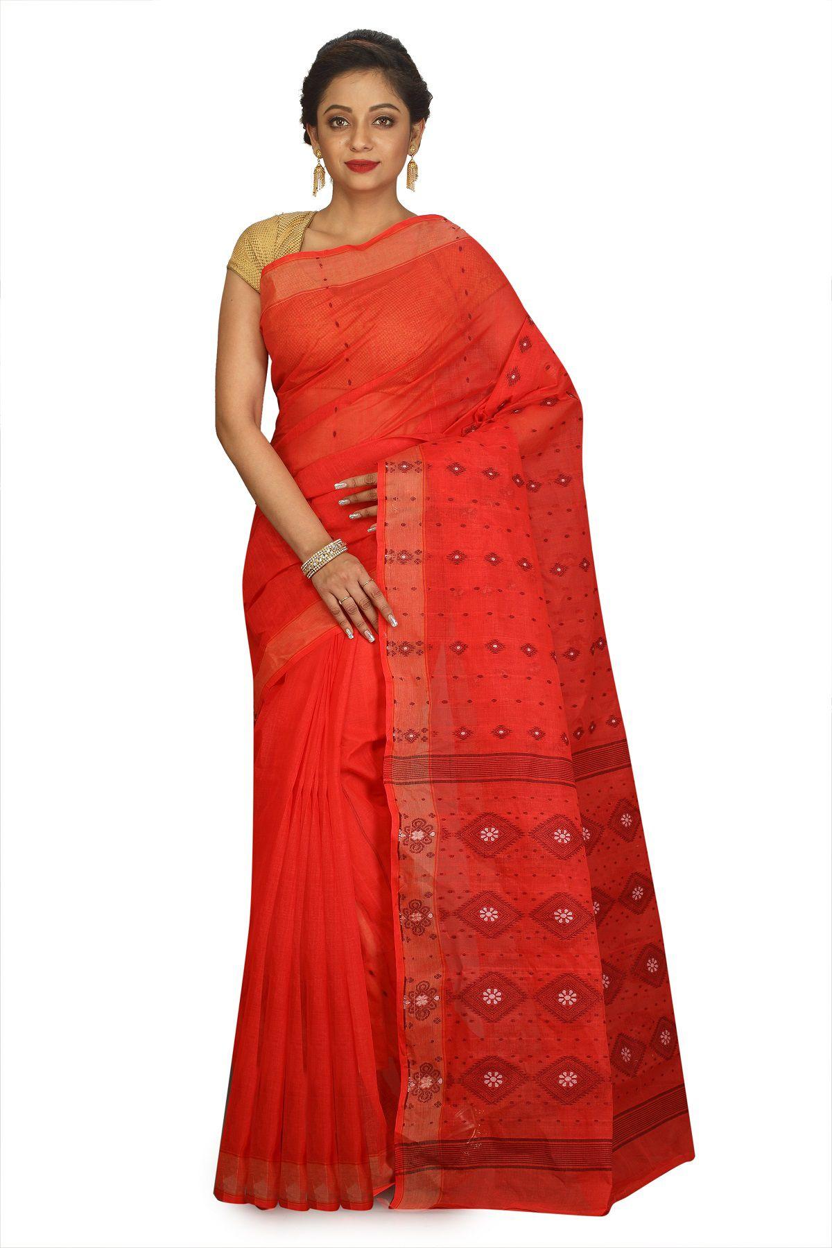 Fablum Red Cotton Saree