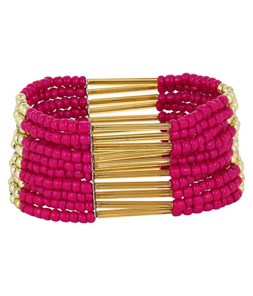 Fayon Daily Casual Work Hot Pink Beaded Shourouk Bracelet
