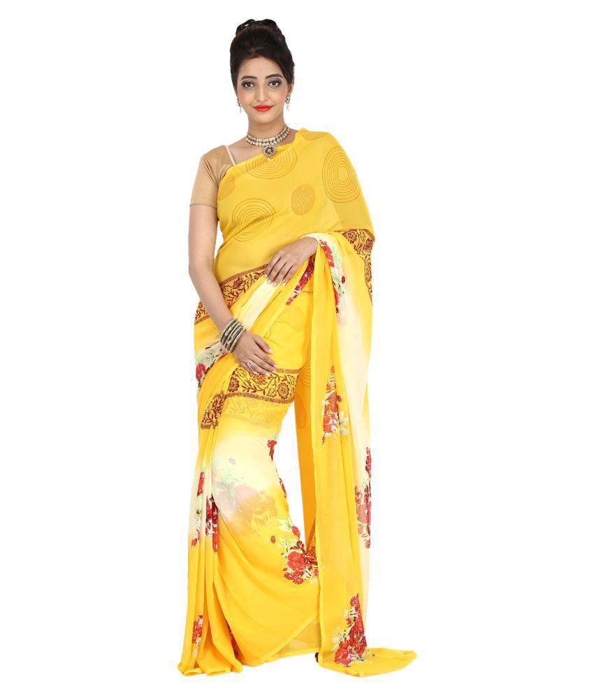 DesignerHaat Yellow Synthetic Saree