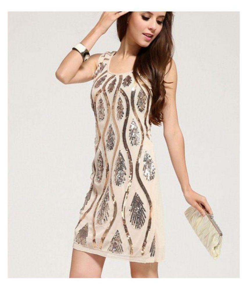 JDF Chiffon Beige Dresses