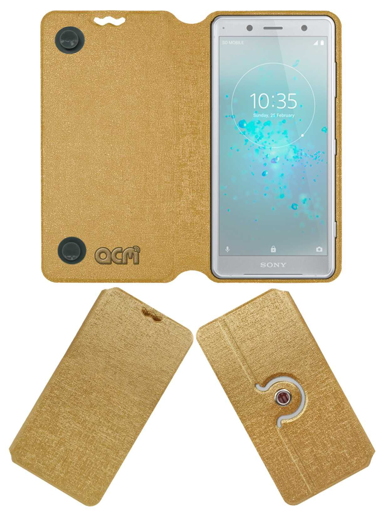 SONY XPERIA XZ2 COMPACT Flip Cover by ACM - Golden