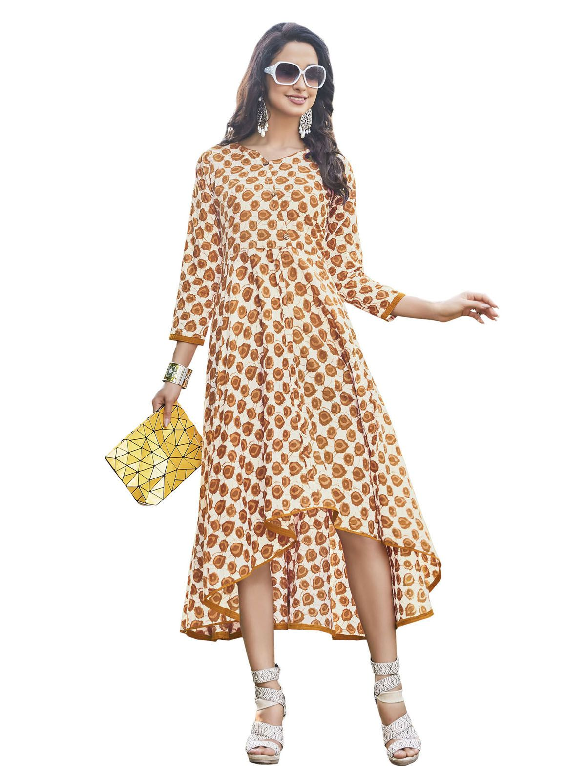 Urban India Yellow Cotton Straight Kurti