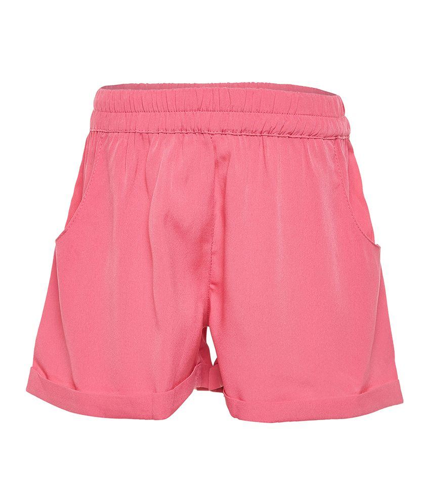 Solid Pink Elasticated Girl Shorts