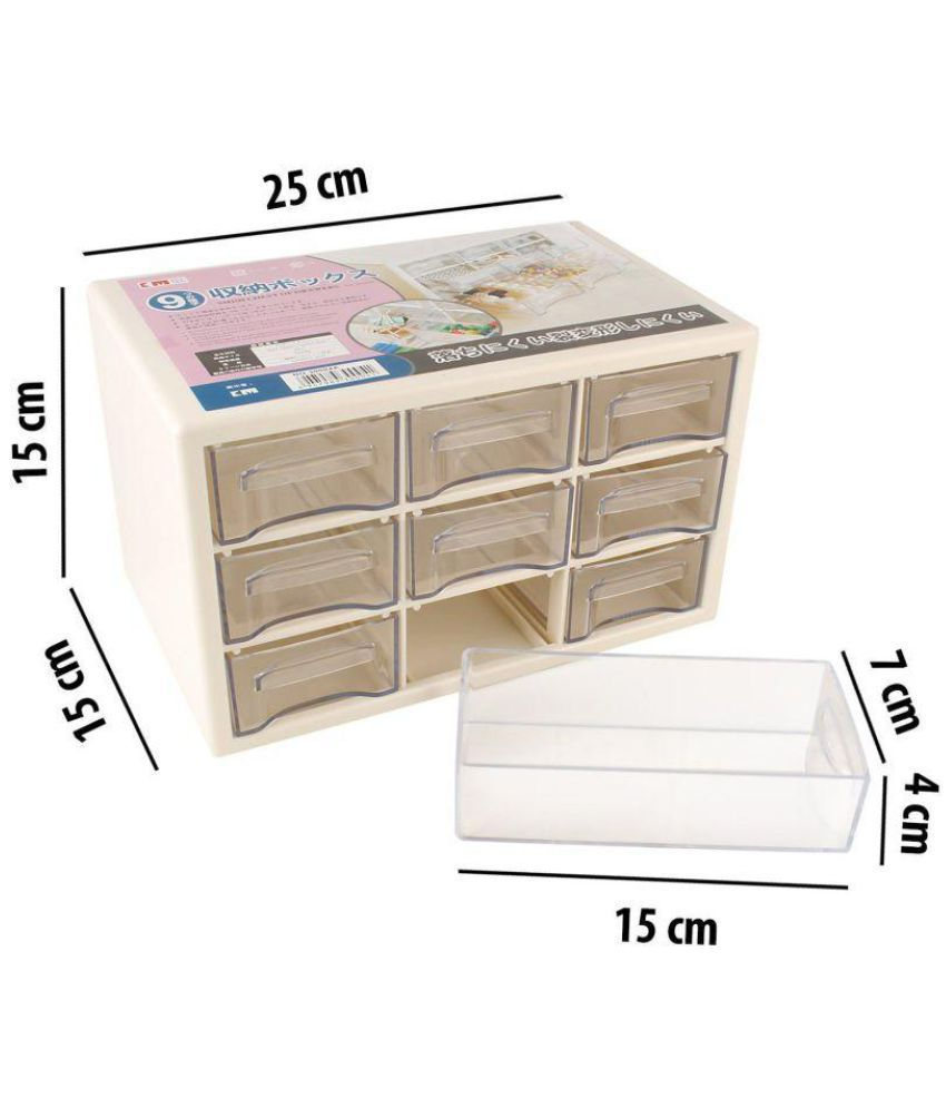 Swadec Compact Multipurpose Plastic Storage Container Box With 9 Drawers For Storing Various Items White