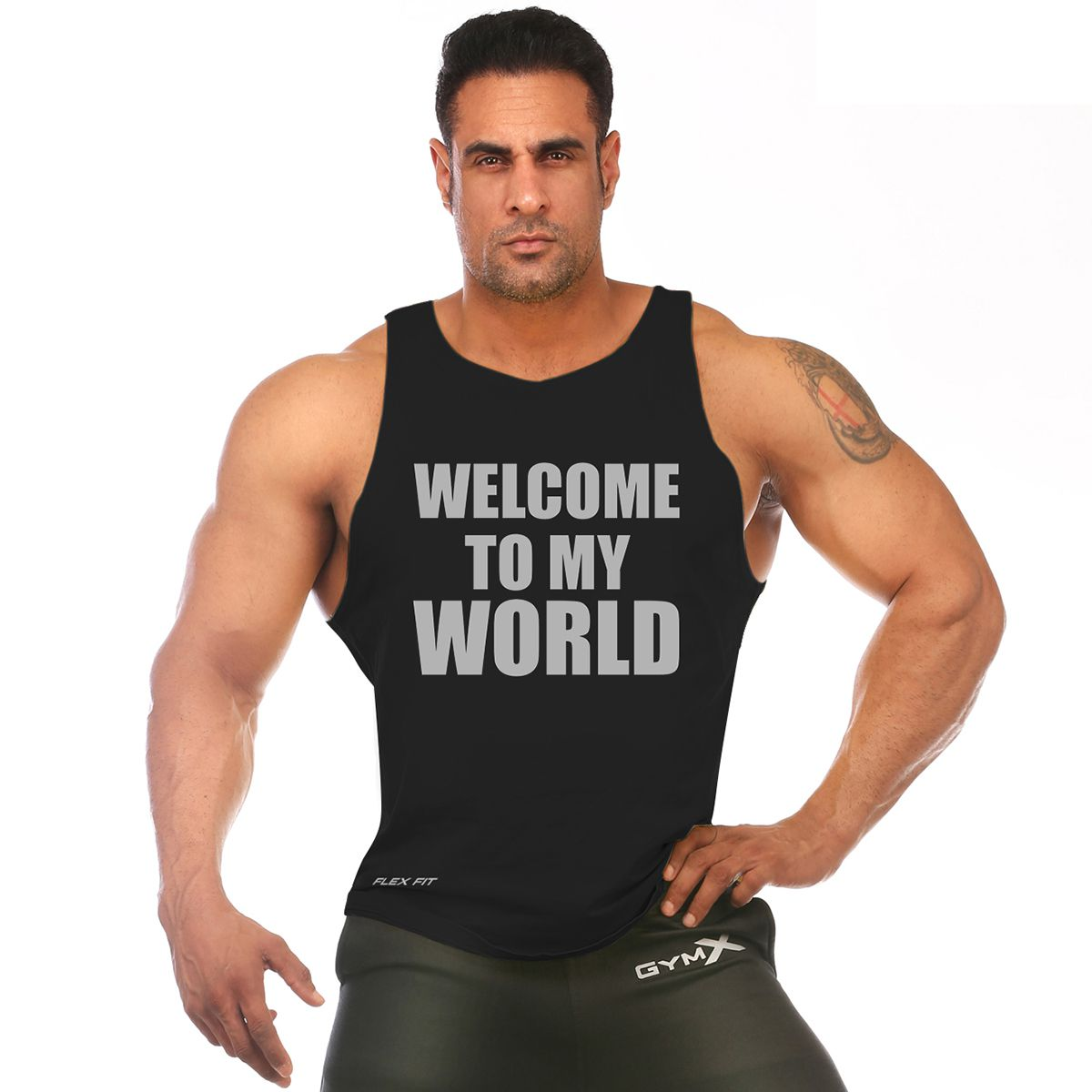 GymX Mens Welcome to my world- Deep Tank Top Black