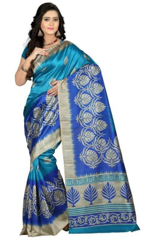 Fab Ikshvaku Blue Art Silk Saree