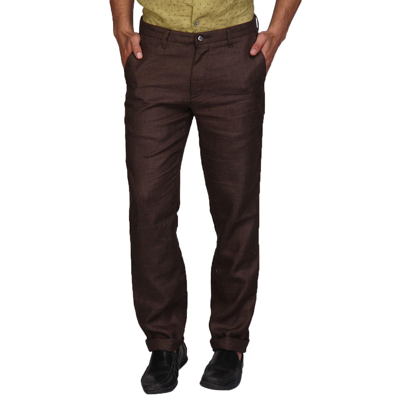 A La Mode Brown Slim -Fit Flat Trousers