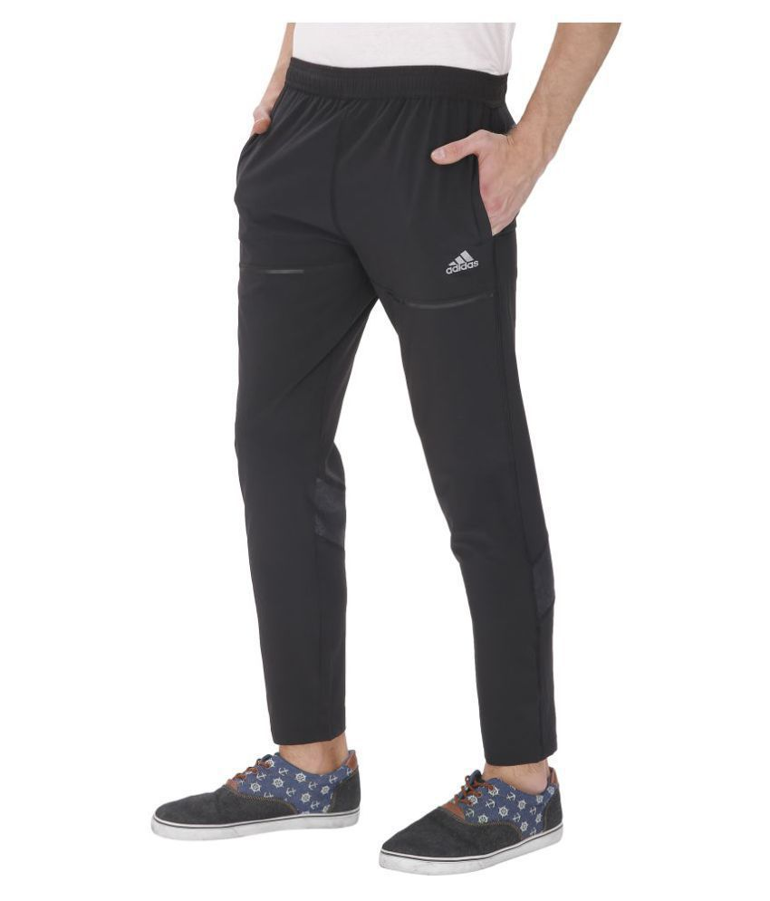 Adidas Black Polyester Sports Trackpants For Men