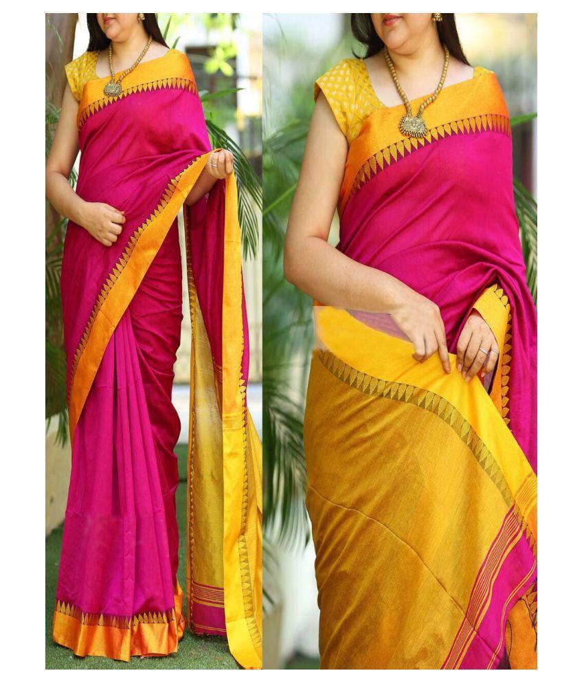 Fashion care Pink Banarasi Silk Saree