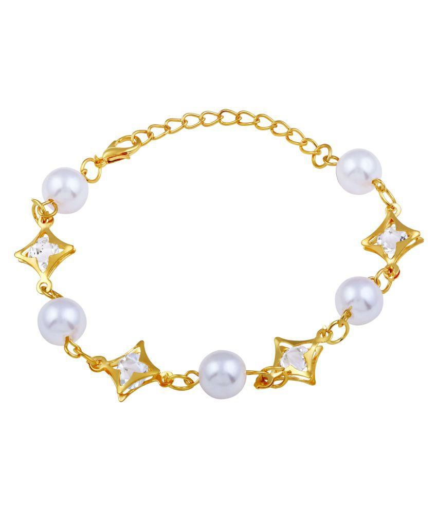 Asmitta Exotic Gold Plated With White Stone Bracelet For Women