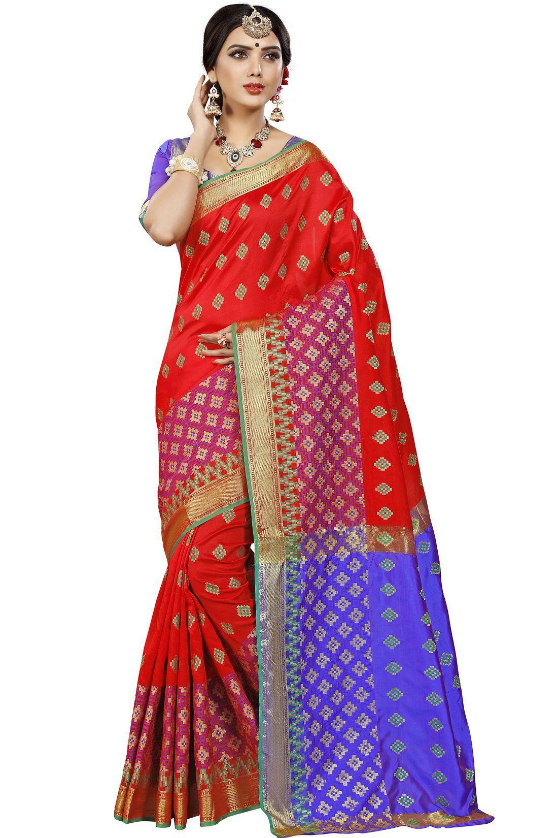 Jiva Red Jacquard Saree