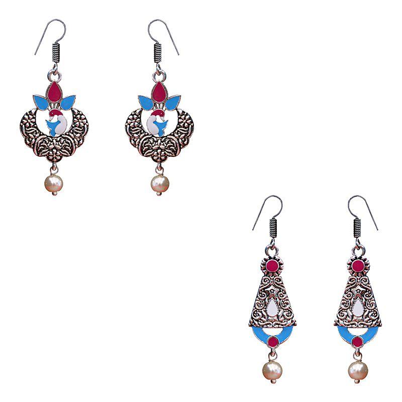 Traditional Meenakari kundan silver plated jhumki brass combo earrings for women