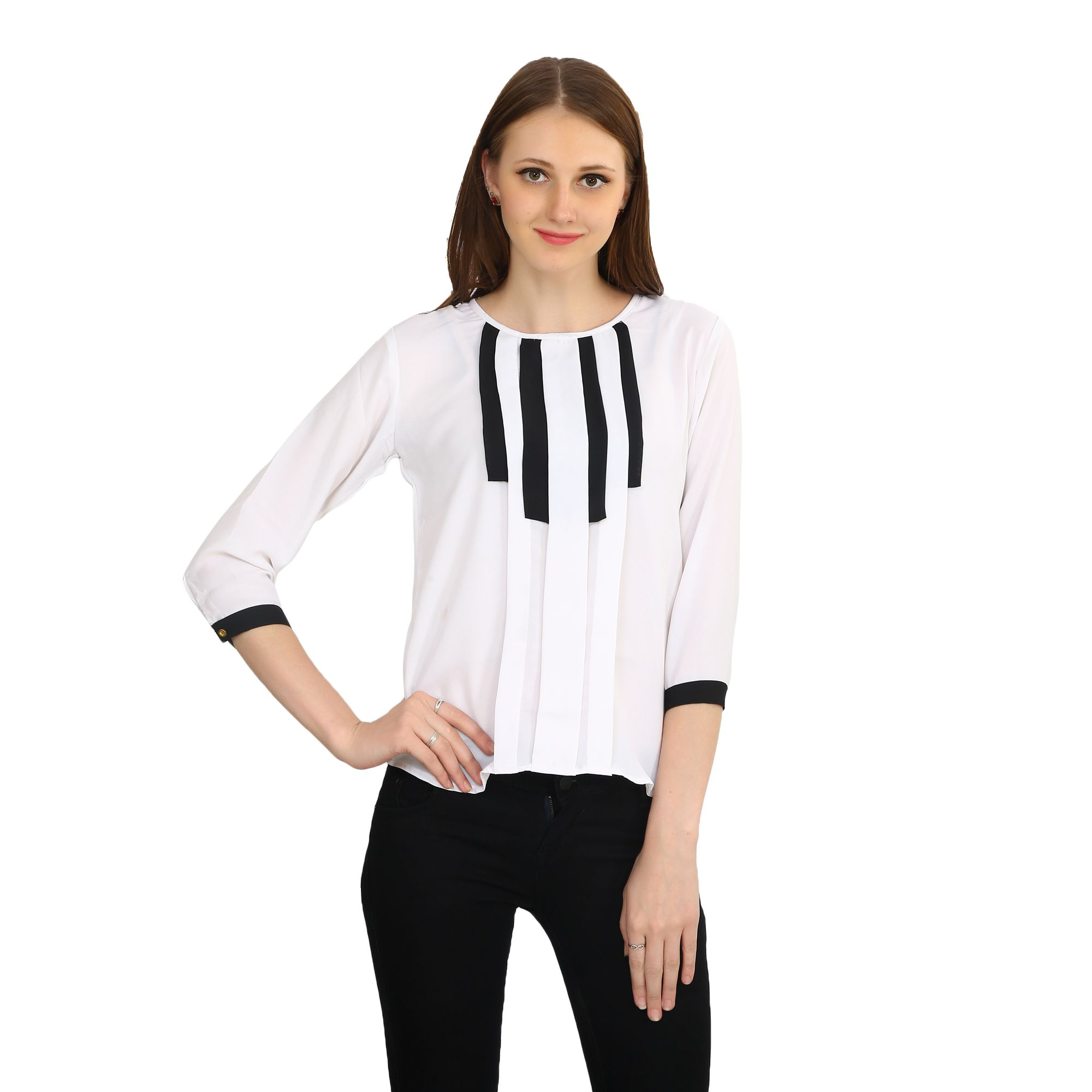Vaijyanti Rayon Regular Tops - White