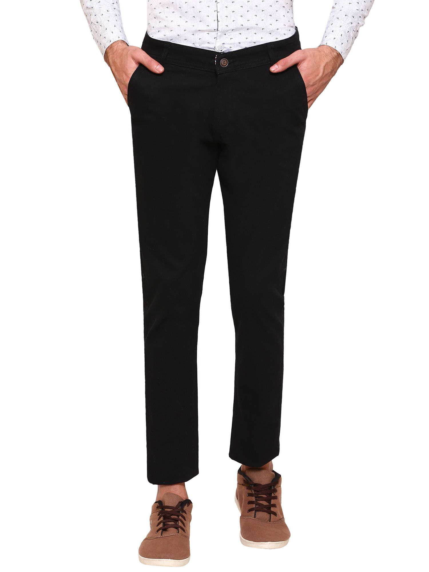 gradely Black Regular -Fit Flat Trousers