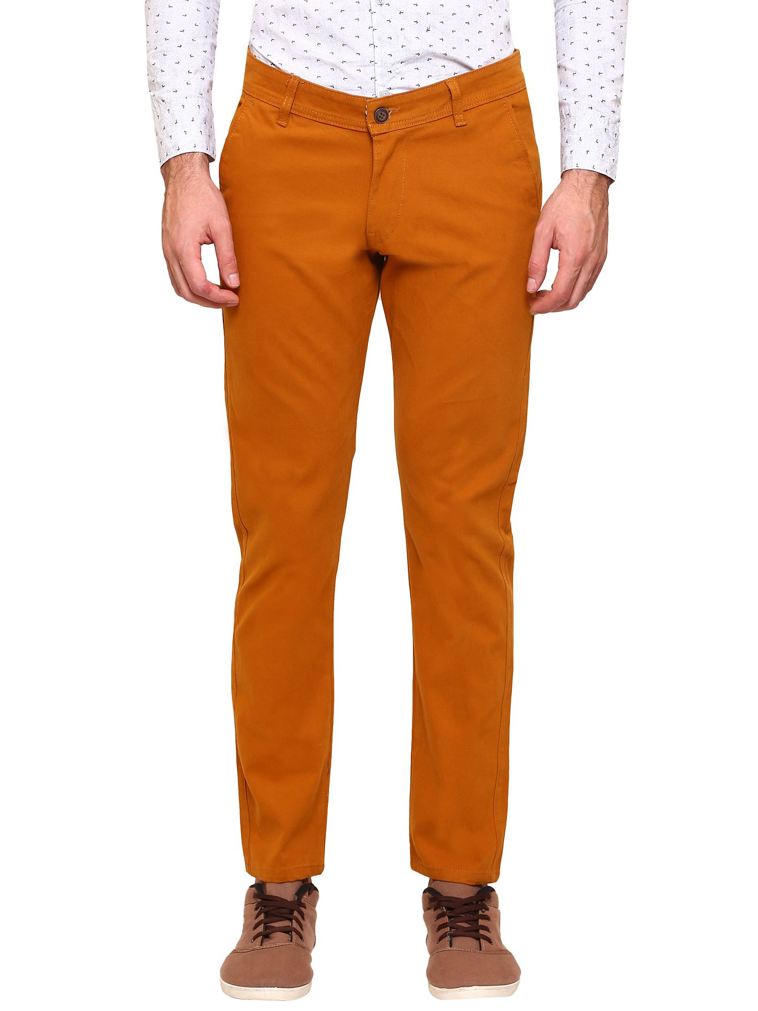gradely Brown Regular -Fit Flat Trousers