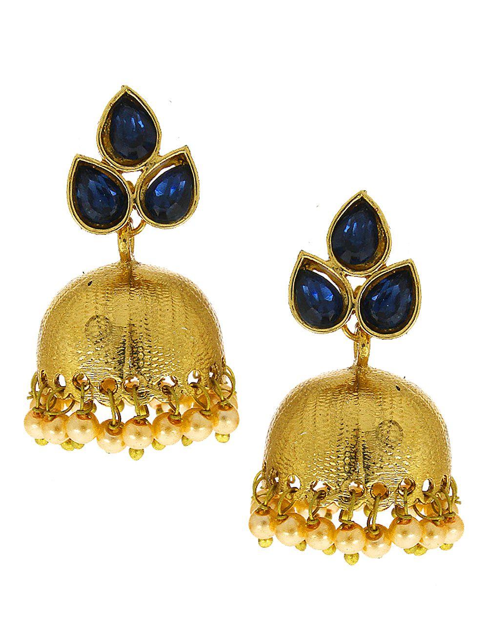 Anuradha Art Blue Colour Pearl Beads Droplet Styeld Very Pretty Adorable Designer Traditional Jhumki/Jhumkas Earrings For Women/Girls