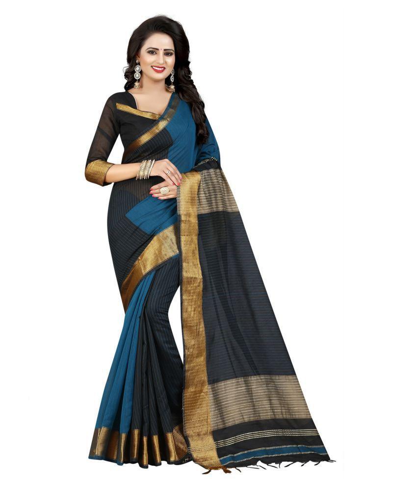 Fab Ikshvaku Black Cotton Silk Saree