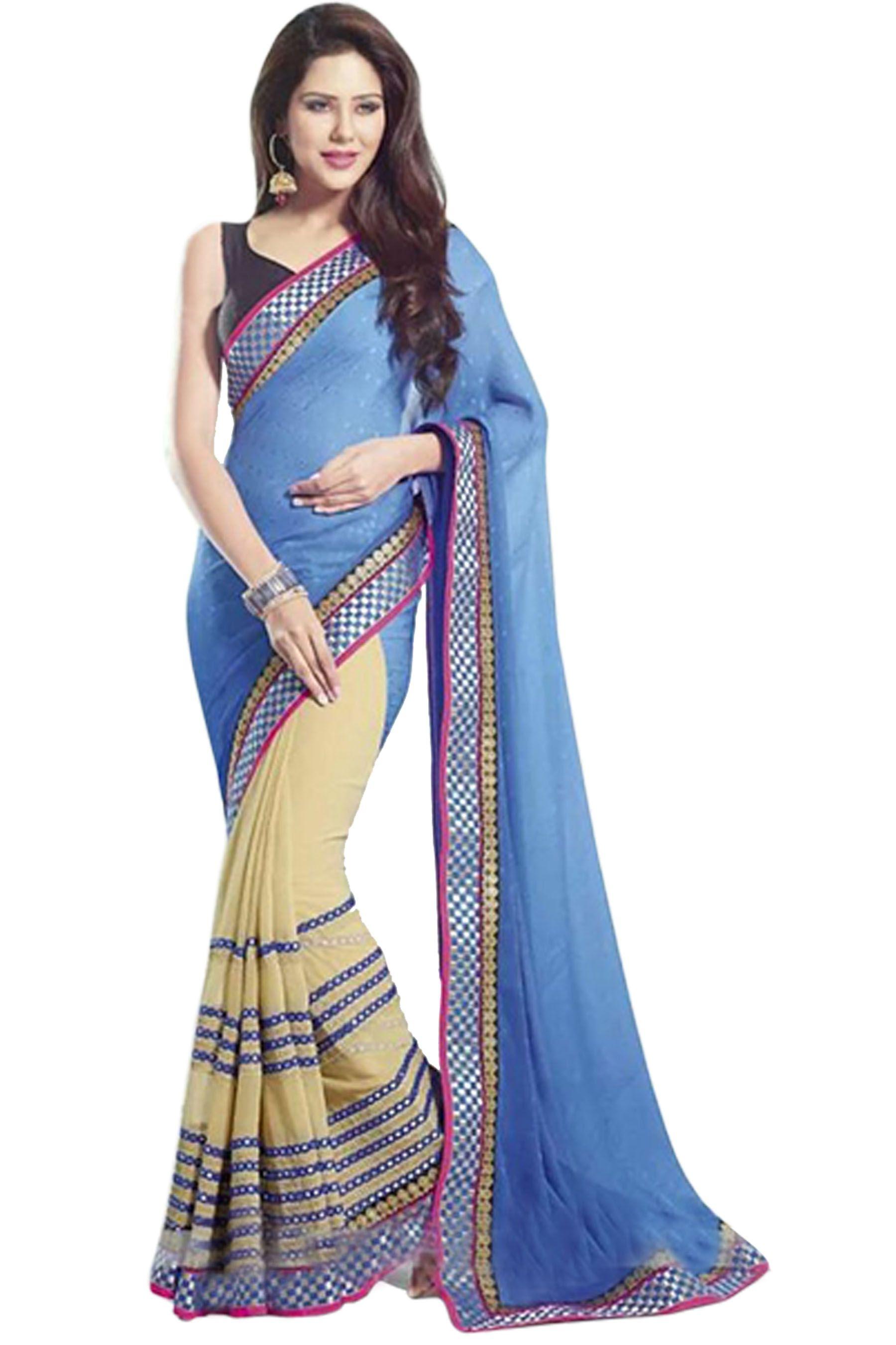 Laxmipati Fashion Blue Georgette Saree