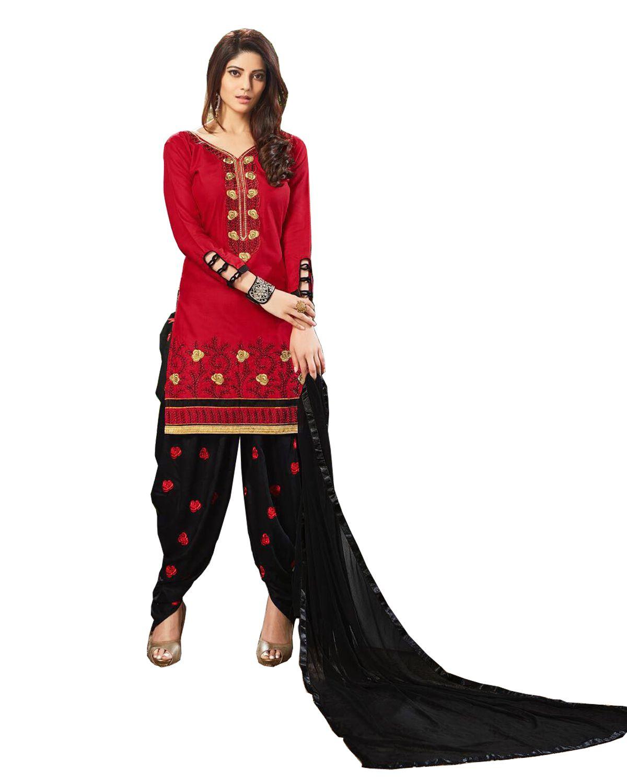 Ticknmart Red Cotton Dress Material