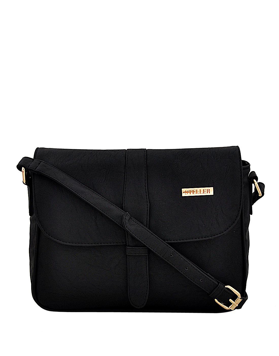 Steller Black Faux Leather Sling Bag
