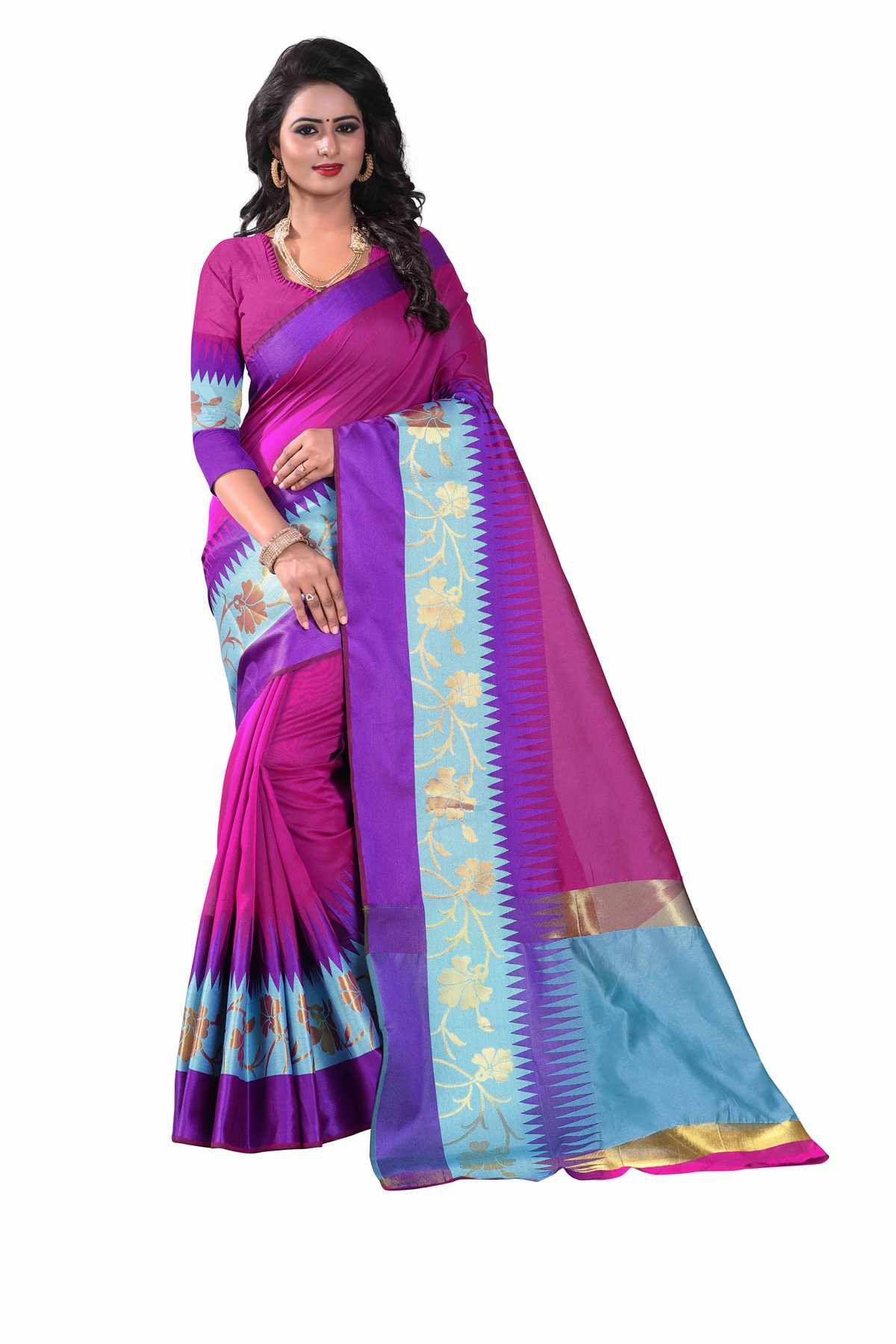 Mastani Blue and Purple Cotton Saree