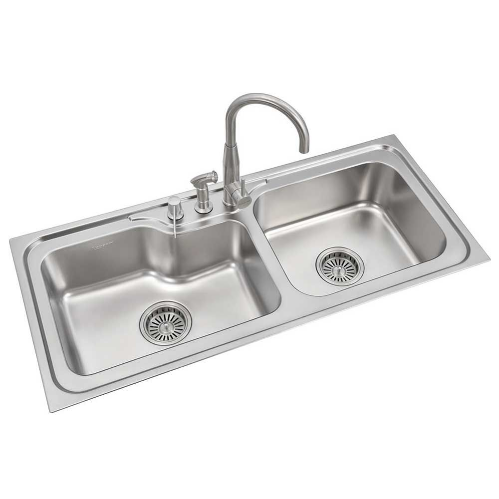 buy anupam stainless steel double bowl sink without drainboard rh snapdeal com