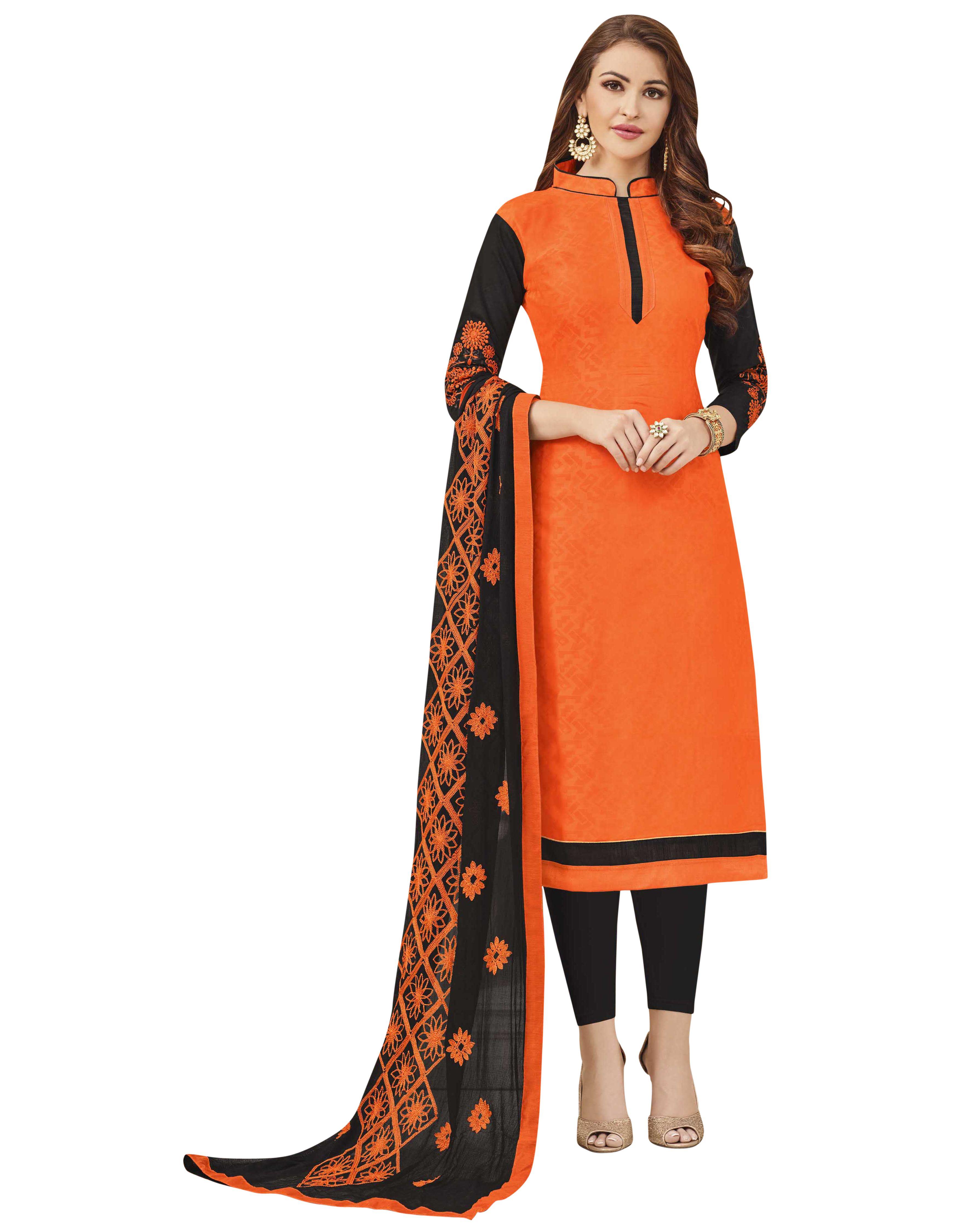 Blissta Orange Jacquard Dress Material