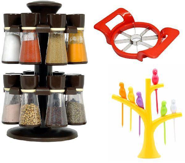 combo of 1 pc 16 jar brown revolving masala jar spice rack + 1 pc grater + 1  pc apple cutter