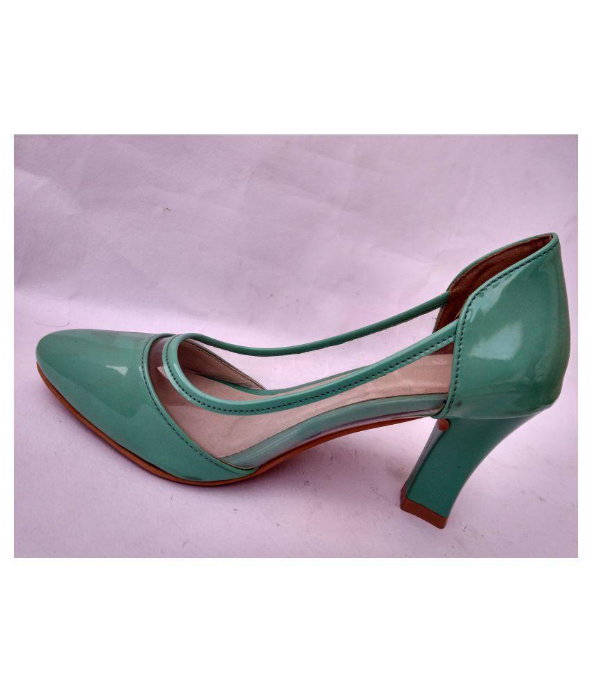 fashion global Green Cone Heels