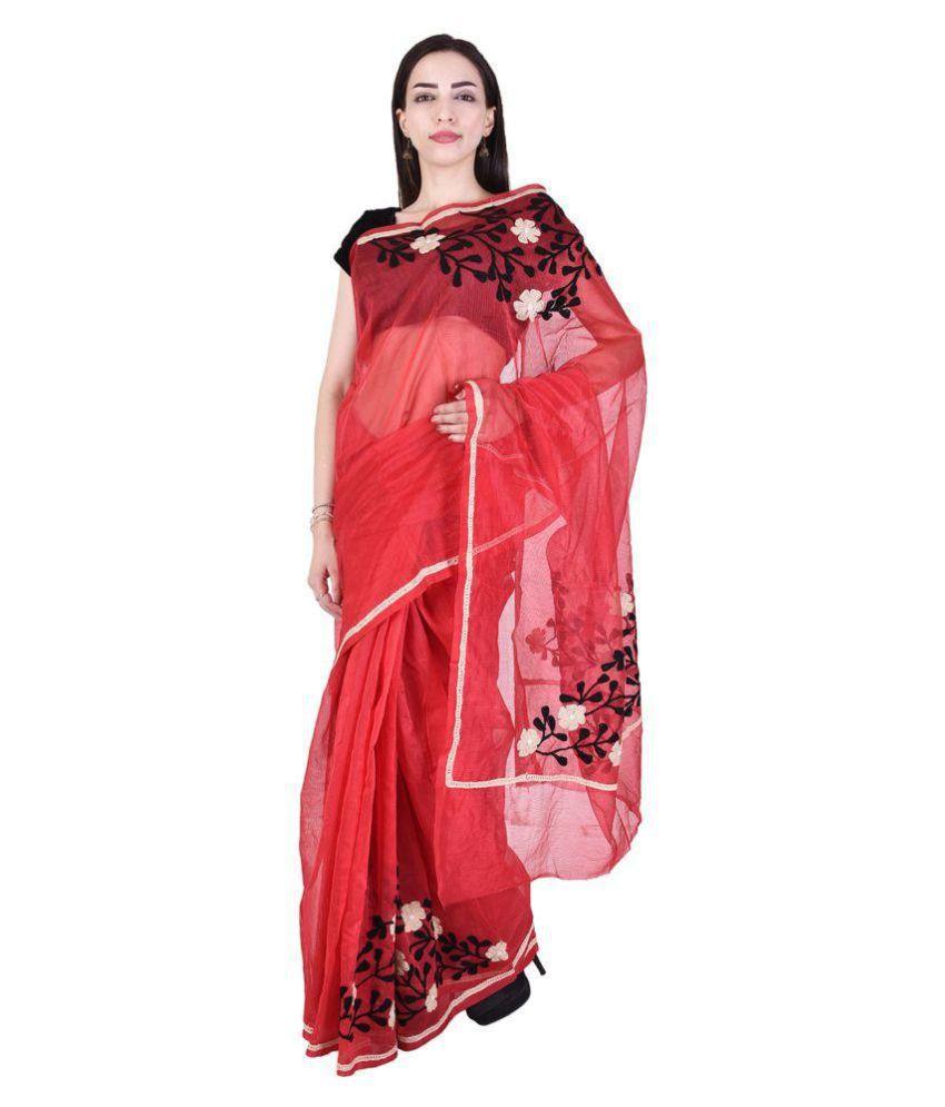 BINORI Red Super Net Saree