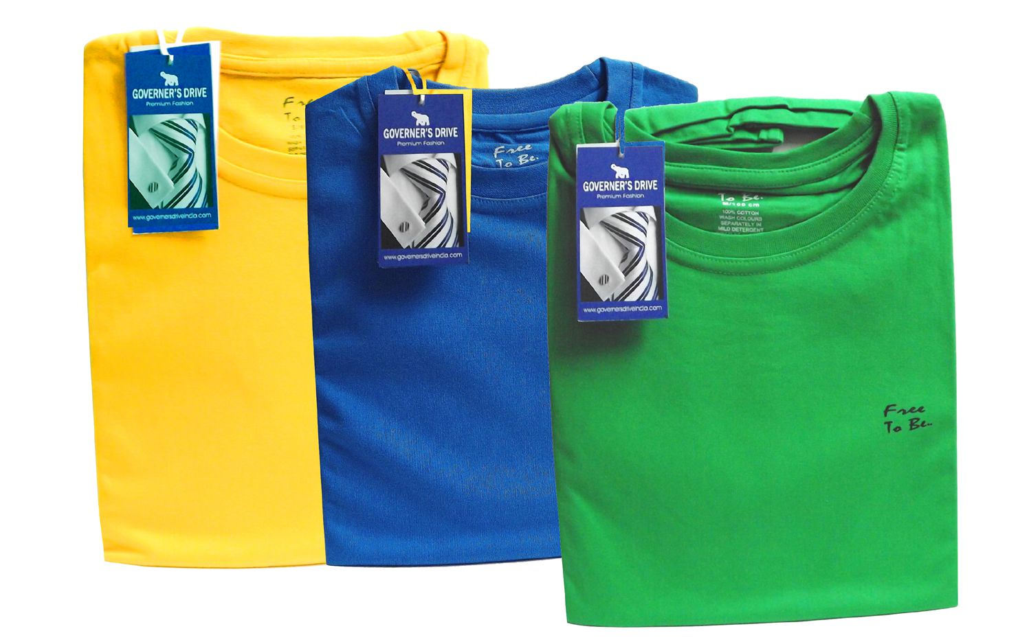 GOVERNER'S DRIVE Blue Round T-Shirt Pack of 3