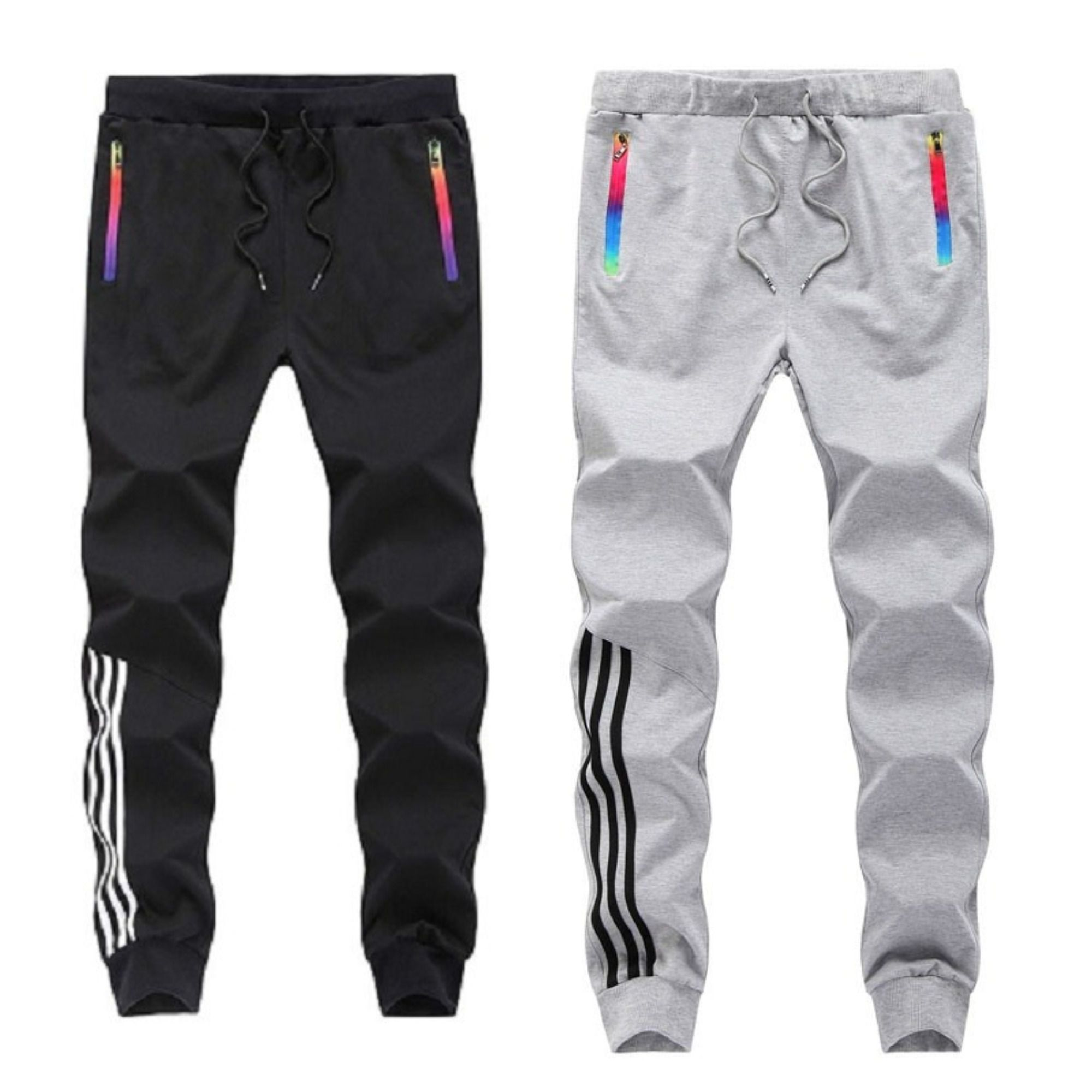 Joggers Park Pack Of 2 Black Grey Skinny Fit Sports Track Pants For Mens With Zipper Pockets