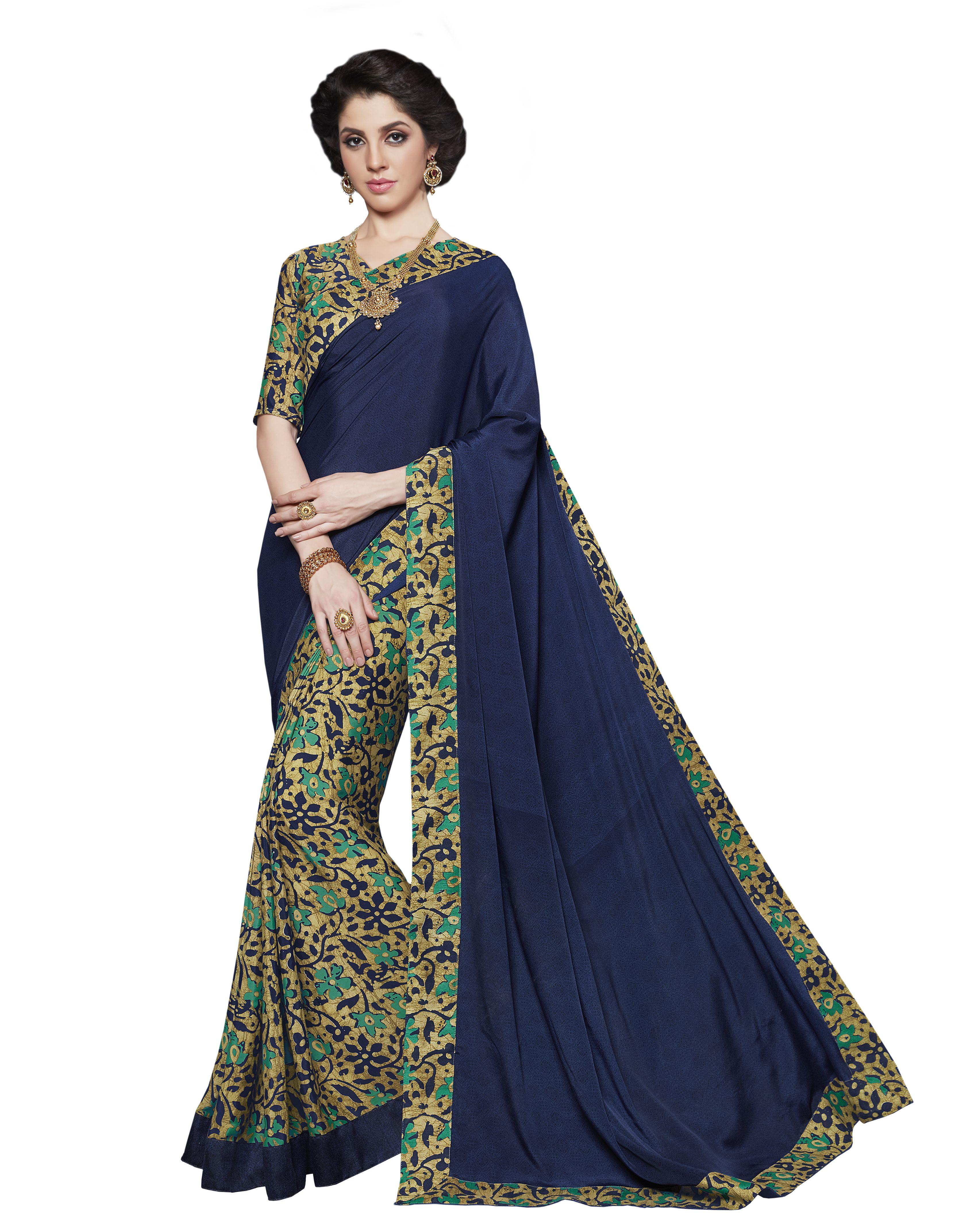 Urban India Blue Silk Crepe Saree