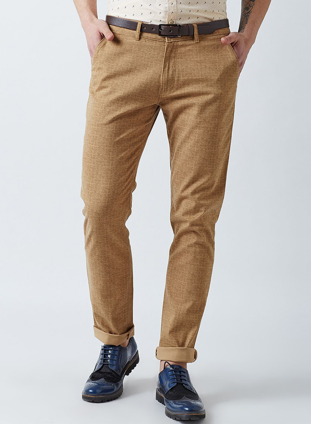 Crimsoune Club Khaki Slim -Fit Flat Chinos
